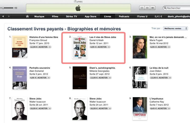 Steve jobs n°2 bios 25 janvier itunes