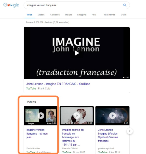 Imagine sur google